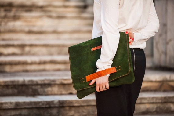 Green leather oversized clutch, Sarah Green Grass and Orange Leather Day Clutch,Oversized Green and orange clutch, versatile clutch