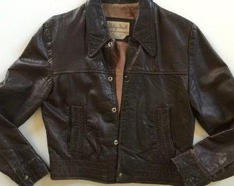 70s Motorcycle Jacket - Distressed Leather Jacket
