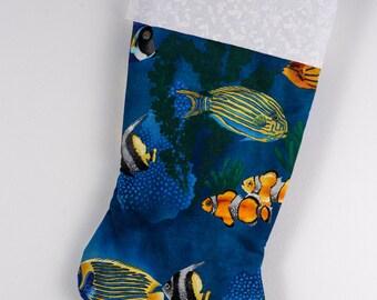 tropical fish Christmas stocking