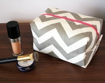 BOGO Sale Large Cosmetic Bag - Chevron Cosmetic Bag - Grey Chevron Bag - Makeup Pouch - Chevron Makeup Bag - Toiletry Bag - Gifts
