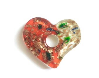 One-of-a-Kind!! Colorful Glass Heart Pendant // Glass Heart Jewelry, Glass Heart Necklace, Gold Foil Glass Pendant, Foil Glass Jewelry