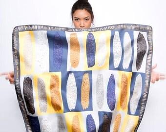 SALE: Printed silk scraf, square silk scarf, silk twill scarf, Italian silk scarf, Yellow, Grey, Blue, designer scarf by Dikla Levsky