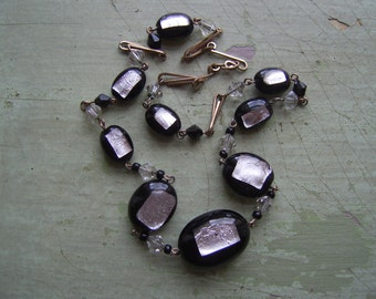ON SALE A Stunning Vintage Art Deco Necklace Black Glass & Silver Foil Bead + Gold Wire Circa 1920's-1930's.