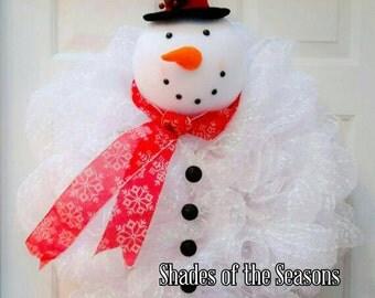 Snowman Wreath, Snowman Mesh Wreath