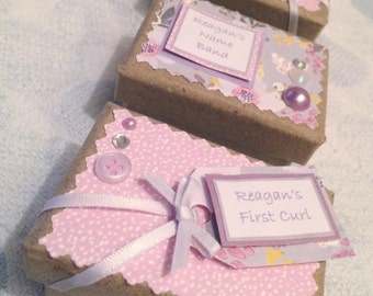 3 Mini Baby Keepsake Boxes- first tooth, curl & name band. Can be personalised x