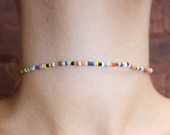 Simple - Stretchy - Multi Color - Seed Bead - Choker