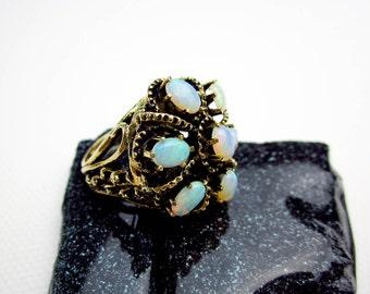14K & 4ct. Australian Black Opal Princess Filigree Ring 1930 Deco, Vintage Art Deco, USA.