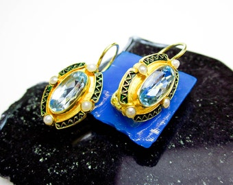 Vintage Blue Topaz & Pearl Earrings, Enameled Sterling Silver, Gold Wash, Lever Back, 1991.