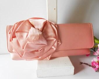 Pink Evening Bag, Pink Clutch Bag, Formal Evening Bag, Glamorous Purse, Wedding Bridal, Vintage Pink Bag, Purse Organza Bow  EB-0056