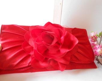 Red Evening Bag Vintage Red Clutch Handbag Red Evening Purse Colorful EB-0333