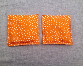 Hand Warmers-one pair-Microwaveable-Flax Seed Heat Pack-Freezer Bags for Boo-boos-Pocket Warmers-Orange with white dots-Heat Therapy Pouches