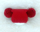 Knitted baby hat Christmas - PICK OWN SIZE - unisex preemie premature toddler - red pom pom hat - xmas photo prop - hand knit - baby shower