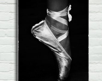 "Black and White Ballet Pointe Shoe Canvas - ballerina art 16x24 canvas wrap 24x36 canvas art ballet dancer large wall art 8x12 - ""Stained"""