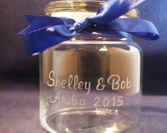 1 Personalized  16 oz Glass  Candy Jar with Flat Glass Lid