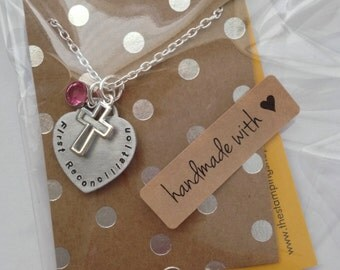 FIRST RECONCILIATION Gift Hand Stamped heart necklace. Communion Necklace. First Communion.  Cross charm and Birthstone Crystal