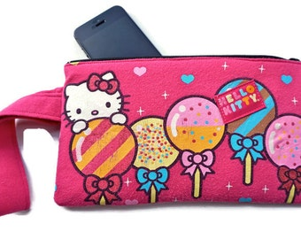 Hello Kitty Bag Pink Balloon Clutch Upcycled T-shirt Wristlet