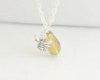 Bee Necklace, Amber Bee Necklace, Honey Bee Necklace, Silver Bee Necklace, Silver Necklace, Everyday Jewelry, British Seller UK