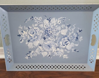 Sale / Vintage Hand Painted Nashco Blue Tray
