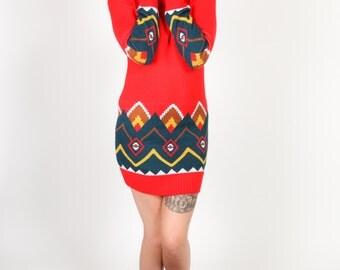 Vintage geometric pattern roll neck jumper dress by Crazy World - Winter warmer