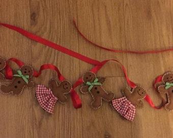 Gingerbread man garland, gingerbread girl garland, gingerbread man banner, tree decoration, christmas garland, childrens garland