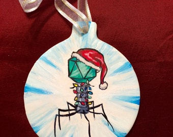 Phil the Pha-la-la-la Phage Christmas ornament