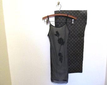 90s Black Mesh Dress Sz XS
