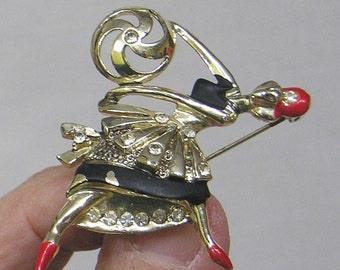 Figural Ballerina Brooch Dancing with Ball Silvertone Enamel and Rhinestones