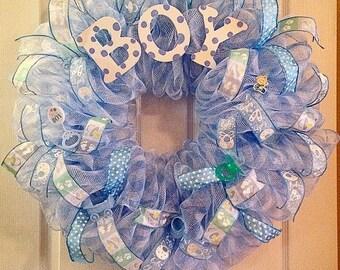 Baby Boy Wreath/ Boy Deco Mesh Wreath/ Baby Boy Deco Mesh Wreath