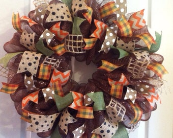 Thanksgiving Wreath/ Mesh Wreath/ Fall Wreath/ Rustic Country Fall Wreath