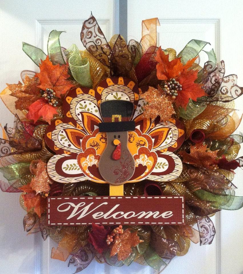 Thanksgiving Wreath/ Turkey Wreath/ LAST ONE Read Description/
