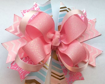 Stacked boutique bow!-Choose your color!!