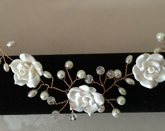Rose gold flower pearl and crystal hair vine