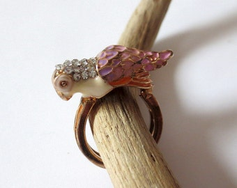 Vintage Ring,  Brass and Pink Enamel Parrot with SparklingRhinestones