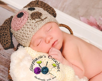 Crochet girl Puppy hat photography prop infant boy hat photo prop crochet baby hat-Made to order