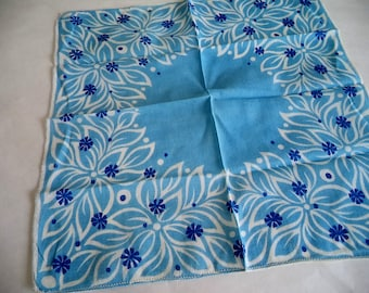 Pretty Multi Blue Floral Handkerchief
