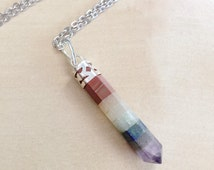 Crystal Chakra Necklace - Terminated Point Stone, Chakras, Ohm, Om, Gemstone Inlay, Tibetan Silver, Healing, Meditation, Reiki, Silver Chain