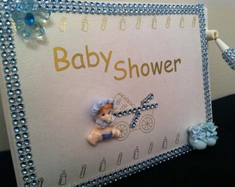 Baby Shower Signature Pink Girl or Blue Boy Guest Book Keepsake