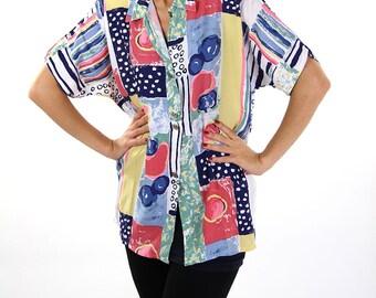 Colourful soviet blouse, women vintage blouse, red, blue shirt, oversize, 80s, L
