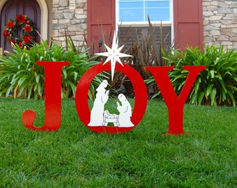 JOY Nativity Outdoor Christmas Holiday Yard Art Sign, Christmas Decoration