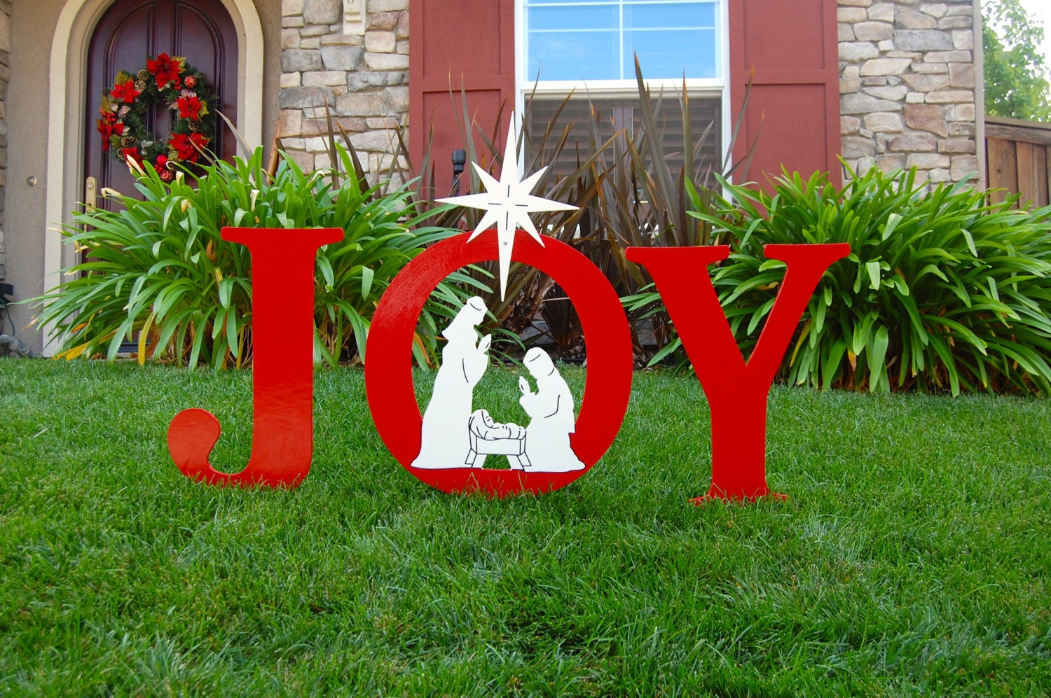 Joy nativity outdoor holiday christmas yard art sign for Holiday lawn decorations