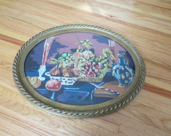"STILL LIFE NEEDLEPOINT In Antique Frame 23"" x 19"""