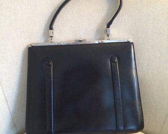 Vintage 1950s Black Leather Handbag  / Metal Clasp