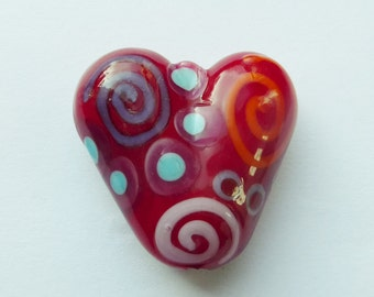 Heart glass lampwork bead