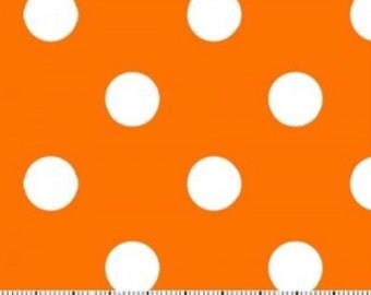 Orange Polka Dot Fabric -----100 Percent Cotton --- Fabric By The Yard