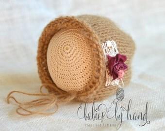 Baby Hat, Newborn Photo Prop, Winter Baby Bonnet, Winter Baby Hat, Newborn Photo Prop Hat, CAMEL Mohair Baby Hat, Newborn Baby Shower Gift