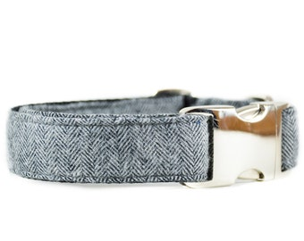 Classic Herringbone Dog Collar in Grey - Flannel Gray and White Wool Geometric Modern Boy Dog Collar