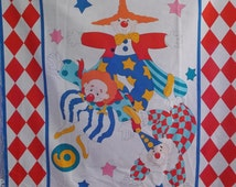 """Baby Quilt Panel Clowning Around Bright Primary Color Friendly Clowns Fabric Panel 36""""X44"""" Pillow, Quilt,Throw or Wallhanging Cotton"""