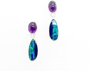 Opal Earrings with Amethyst Sterling Silver Drop  Earrings Australian Opal