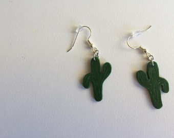Hand made polymer clay cactus earrings