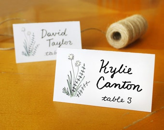 Rustic Romance Table Tent Placards / Dandelion Flower Barn Name Cards Guest Cards Place Cards Printed or Print at Home / Custom Calligraphy